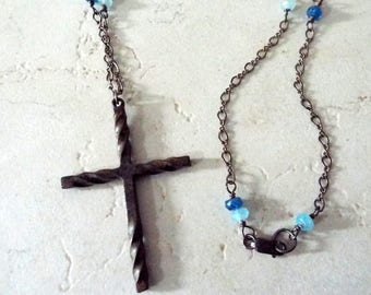 rustic cross pendant sterling silver artisan necklace aquamarine and teal blue apatite