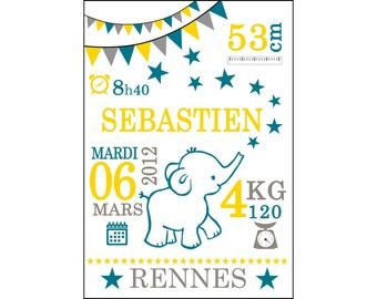 Affiche 21x30 Cadeau de Naissance Personnalisé - éléphant, girafe, renard, ou autre animal.