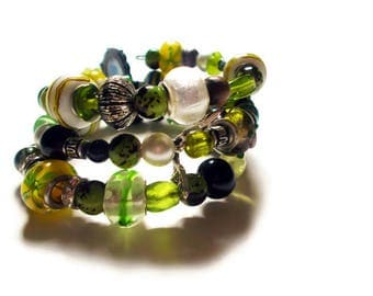 Lime Green Memory Wire Bracelet - Green Cuff - Coil Bracelet - Wrap Bracelet - Beaded Bracelet - Halloween Bracelet - Alternative Fashion