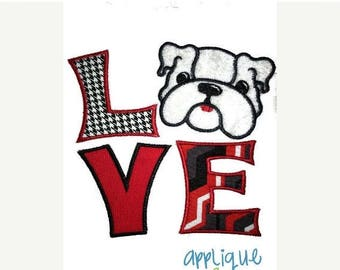 50% Off INSTANT DOWNLOAD Bulldog LOVE applique digital design for embroidery machine by Applique Corner