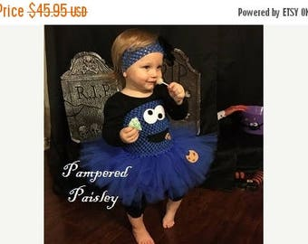 Halloween sale Cookie Monster inspired tutu dress - Monster tutu - Blue tutu - Halloween Costume