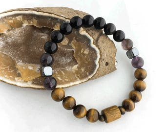 Highway Harmony Bracelet Tigers Eye Rainbow Obsidian Amethyst 8 mm