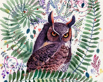 great horned owl among ferns original watercolor painting