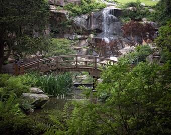 Digital Background of Japanese Garden bridge and waterfall.