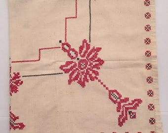 """20% Off Vintage Hand Cross Stitch Beige Tablecloth Red Floral 40"""" x 45"""""""