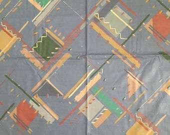 1980's Mod Abstract Geometric Print Collier/Campbell for P Kaufman Scotchgard Fabric Upholstery Home Decor DIY 4 Yards