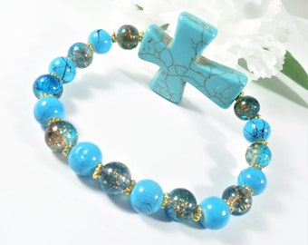 Turquoise Cross Bracelet with Gold Accents, Blue Bead Bracelet, Blue Bracelet, Christian Bracelet Cross Jewelry, Womens Jewelry