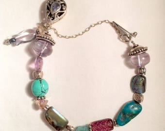 "Silver & Gemstone Bracelet/325 Silver Bracelet/7"" Gemstone Bracelet/Turquoise Abalone Crystals/Safety Chain/Purple  Silver Green/Beautiful!"
