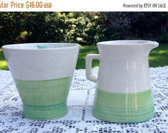 Save 15% OFF Colortone Sugar Bowl and Creamer Verde Handpainted Vintage Japan #4703 Green and White with Blue Edge