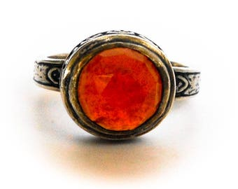 Vintage Sterling Red Carnelian Ring   Size 6 1/4       Peyote Bird Designs       Southwest