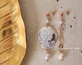 DELICATE Earrings-925 sterling silver earrings electroplated with 18K rose gold, authentic shell cameo, natural freshwater,baroque pearls