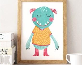 Monster print, Monster Illustration, Monster wall Art, Kids room decor, Monster kids Print, Nursery print, Blue monster, Funny monster
