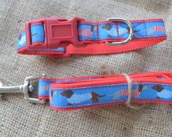 Dog Collar and Leash by Floral Pooch - 111 Blue Dachshund