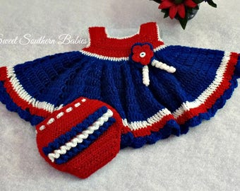 Baby  Girl's Fourth of July Dress with Diaper Cover - Red, White and Blue - Newborn to 18 Months - Summer