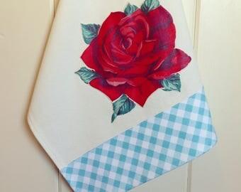 vintage red rose tea towel