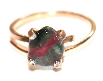 Tiny Watermelon Tourmaline Ring Rose Gold Vermeil Ring Adjustable Ring Watermelon Tourmaline Slice Tourmaline Jewelry Delicate Ring Pink