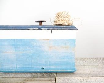 Rustic Box - Nautical Home Decor - Aqua White Navy - Beachy Chic Box