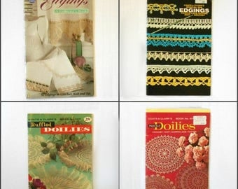CIJ SALE Vintage Coats & Clark's Edgings and Doilies books 107 197 208 1405 to Knit Crochet Tat CHOICE Of One