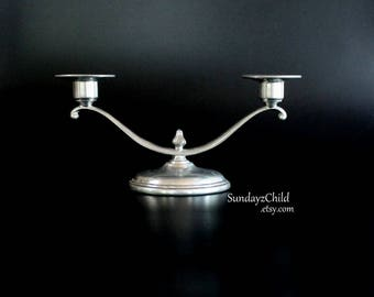Marion Pewter Candleholder - 751 - Vintage Two Arm Candelabra - Small