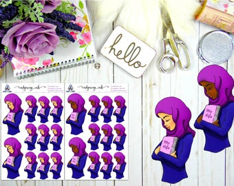 Beautiful Amina with her Life Planner Doll Sticker Sheet    Hand Drawn