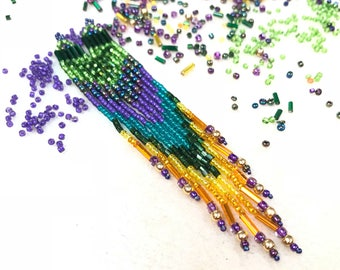 "Longer 5"" to 7"" Seed Bead Fringe Earrings"