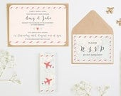 Travel Collection  Map  Airplane Wedding Invitation Bundle