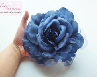 Large Navy Organza Flower Brooch, Navy Sash Flower, Headpiece, Dress accessories