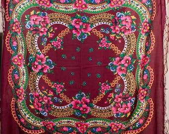 SALE acrylic russian shawl. Wedding shawl. Babushka Russian Hustka chale foulard russe, scialle fiori, ukrainian scarf. Folk Ethnic Babushka