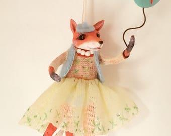 Mrs. Fox, Cupcakebears, Cupcakebearsandme, Christmas tree decoratie, handgemaakte, Collector's item, beeldje