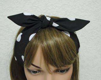 Retro headband, polka dot headband, pin up style head scarf, tie up hair scarf, rockabilly headband, hair care accessory, polycotton