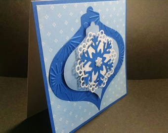 Christmas Ornament Card , Vintage Style Christmas Card, Ornament Holiday Card, Blue Ornament,  Dimensional Ornament Card