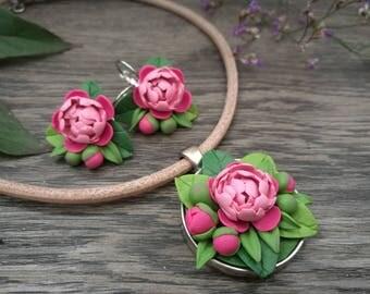 Romantic pheonies jewelry set,pheonies necklace,romantic jewelry,flower necklace and earrings