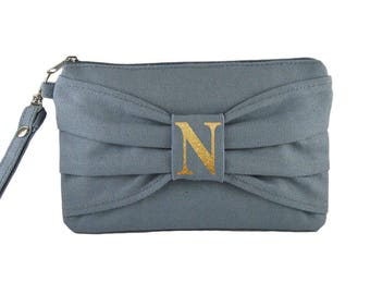 SUPER SALE - Gray Bow Clutch - ( Gold Glitter Letter ) iPhone Wristlet, Credit Card Bag, Makeup Bag, Zipper Pouch - Made To Order