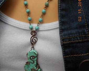 Turquoise Pendant Southwestern Necklace, Southwestern Turquoise Necklace, Boho Turquoise Necklace