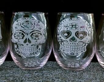 Sugar Skull Wine Glasses Stemless