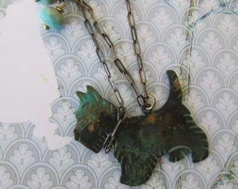 Vintage necklace Doggie verdegris