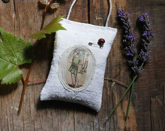 "french lavender sachet   ""little girl with a green dress"""
