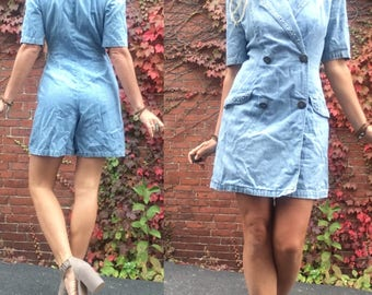 80s denim romper power shoulders