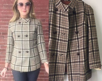 vtg 50s 60s womens jacket wool lined houndstooth fitted blazer