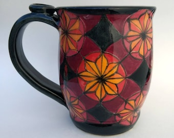 Painted pattern mug, Maroon and Orange, #9, 16oz