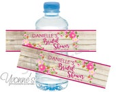 Bridal Shower Water Bottle Label/Wrappers - Bohemian/BOHO Rustic Floral Favors-Wedding-Sweet 16-40th-50th-60th Milestone Birthday-SET OF 12