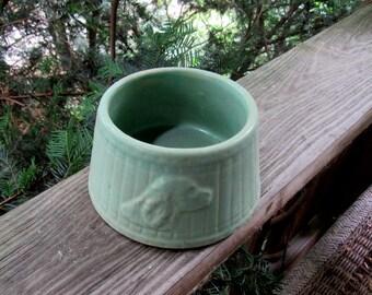 antique stoneware aqua dog bowl, rare one, dog head embossed, spaniel type