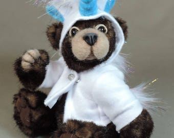 """Artist Teddy Bear, Unicorn Bear, OOAK Tissavel faux fur and needle felted face, collectible, handmade teddy, fully jointed, 7.5"""" tall"""