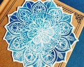 Blue Lotus Mandala Vinyl Sticker, India Yoga Guru Sticker, Travel Decal, Car Decal, Nature Laptop Decal, Tapestry Sticker, Ethnic Design