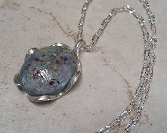 Custom Keepsake / Memorial Pendant or Necklace made from your Flower Petals or loved one's Hair or Pet fur or Cremains - TWISTED WAVE