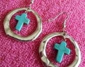 EARRINGS: Turquoise Cross and Sterling Silver Dangle Pierced Earrings