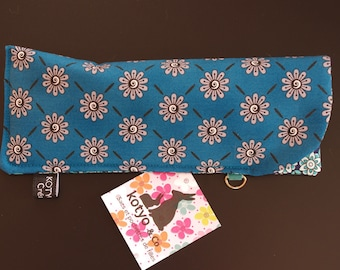 Fabric glasses case padded, blue, small flowers.