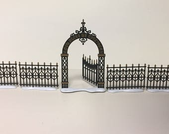 Department 56 Victorian Wrought Iron Fence And Gate Church Accessories Miniature Black Fence