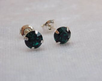 Sterling Silver and Swarovski Crystal Stud Earrings in Green Emerald