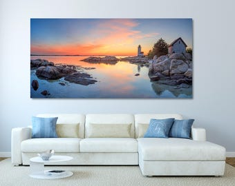 Large Canvas Beach Print, Panoramic Lighthouse Photography, Serene Ocean Art, Coastal Home Decor, Annisquam Lighthouse, Gloucester MA Photo